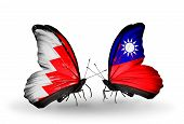 Two Butterflies With Flags On Wings As Symbol Of Relations Bahrain And Taiwan