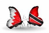Two Butterflies With Flags On Wings As Symbol Of Relations Bahrain And Trinidad And Tobago