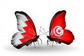 Two Butterflies With Flags On Wings As Symbol Of Relations Bahrain And Tunisia
