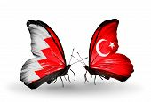 Two Butterflies With Flags On Wings As Symbol Of Relations Bahrain And Turkey