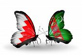 Two Butterflies With Flags On Wings As Symbol Of Relations Bahrain And Turkmenistan