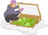 Illustration of a Woman Checking Her Plants Inside the Cold Frame