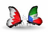 Two Butterflies With Flags On Wings As Symbol Of Relations Bahrain And Equatorial Guinea