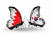 Two Butterflies With Flags On Wings As Symbol Of Relations Bahrain And South Korea