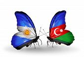 Two Butterflies With Flags On Wings As Symbol Of Relations Argentina And Azerbaijan
