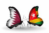 Two Butterflies With Flags On Wings As Symbol Of Relations Qatar And Togo