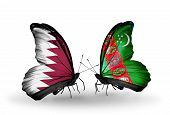Two Butterflies With Flags On Wings As Symbol Of Relations Qatar And Turkmenistan