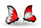 Two Butterflies With Flags On Wings As Symbol Of Relations Bahrain And Austria
