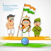pic of fancy-dress  - illustration of kids in fancy dress of Indian freedom fighter - JPG
