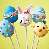 image of cake pop  - Cake pops with an Easter theme - JPG