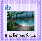 Illustration of a letter r is for rain forest