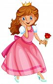 Illustration of a beautiful princess holding a rose
