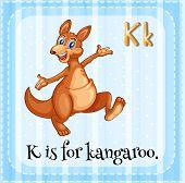 Illustration of an alphabet k is for kangaroo