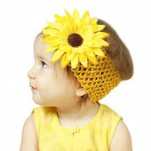 Funny Child Isolated On White, Hairstyle With Flower