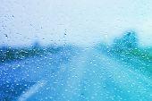 Rainy day windshield poster