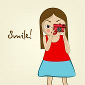 Cartoon of a cute little girl holding a stylish red camera and trying to take photo on beige background.