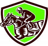 Jockey Horse Racing Shield Retro Woodcut