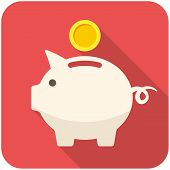 picture of coin bank  - Piggy bank icon  - JPG