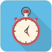 pic of stopwatch  - Stopwatch modern flat icon with long shadow - JPG
