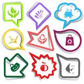 Nature set. Paper stickers. Vector illustration.