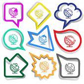 School globe set. Paper stickers. Vector illustration.