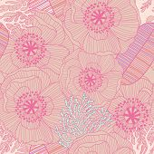 Awesome floral seamless pattern in vector. Beautiful romantic card in pink colors. Seamless pattern can be used for wallpaper, pattern fills, web page backgrounds, surface textures
