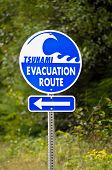 stock photo of disaster preparedness  - A highway sign marking Tsunami Evacuation Route along the coast of Oregon - JPG