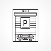 Line vector icon for parking garage