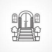 Line vector icon for front door