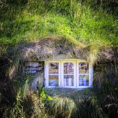 Window of an old turf house in Iceland