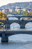 View of bridges on Vltava river