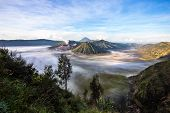 Mount Bromo, Batok And Gunung Semeru In Java, Indonesia