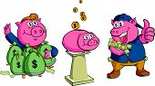 rich pig put money in the piggy bank