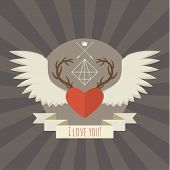 Heart with deer antlers and wings on gray.