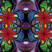 Pattern From Fractal Flowers. Blue, Green And Pink Palette. Fractal Design. Computer Generated Graph