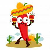 picture of mexican fiesta  - Vector Illustration of a happy mariachi chili pepper playing music with maracas and dancing in the Mexican desert - JPG