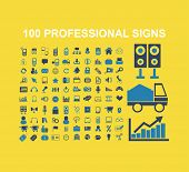 professional, marketing, business, management, sales, logistics icons, signs, illustrations on background, vector set