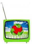 Eco Tv Concept. Vintage Television Isolated.