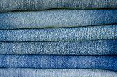 Close Up Different Blue Jeans