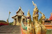 three heads Naga statue in the temple northern of Thailand