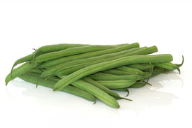 stock photo of green bean  - French green beans isolated over white background - JPG