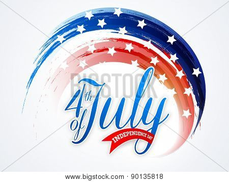 American national flag colors paint stroke with stylish text 4th of July for Independence Day celebr