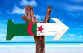 picture of algiers  - Algeria Flag wooden sign with ocean background - JPG