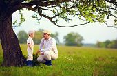 picture of farmer  - farmer family having fun under an old tree spring countryside - JPG