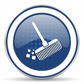 stock photo of broom  - broom icon clean sign  - JPG