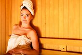 foto of sauna woman  - Spa beauty treatment and relaxation concept - JPG