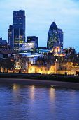 stock photo of london night  - Financial district of the City of London in the night - JPG