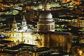 picture of london night  - Aerial overview of London city with the St Pauls Cathedral at night - JPG