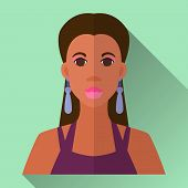 stock photo of african american hair styles  - Green flat style square shaped female character icon with shadow - JPG