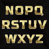 picture of glitter  - Gold glittering metal alphabet  - JPG